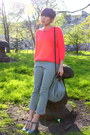 Carrot-orange-cotton-topshop-sweater-lime-green-cropped-mango-pants