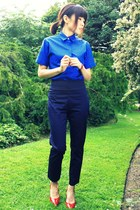 blue Wood Wood shirt - navy high weist H&M pants - red bracelet bracelet