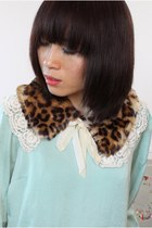 Tiger Print Faux Fur Lace Large Collar Scarf-CZ27-12