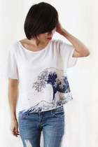 Japanese The Great Wave Tsunami Print Chiffon Top