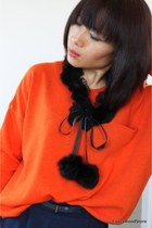 Kawaii Black Faux Fur and Lace Collar Scarf Necklace-CZ24-12