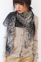 Snow Dots Black and White Chiffon Scarf SZ18-12