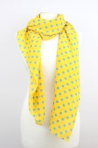 Spring Blue Dots Yellow Japanese Silk Scarves SZ08-12