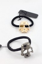 Metal Skull Ponytail Holders - Golden or Silver