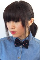 Cherry Adjustable Black Corduroy Bow Tie JS046-13