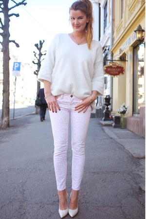 denim CurrentElliot jeans - angora knit H&M sweater