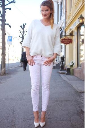 denim CurrentElliot jeans - angora knit H&M sweater