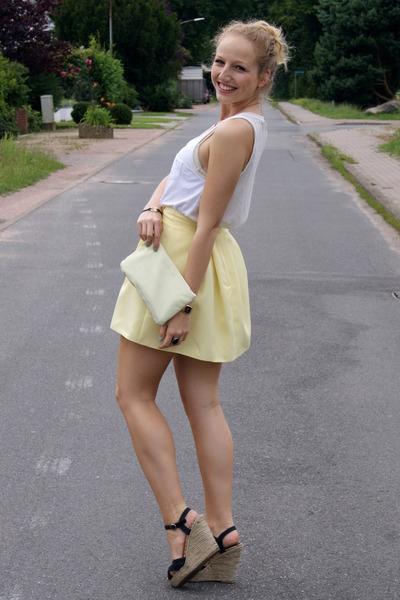 light yellow Primark skirt - light yellow Monki bag - black Primark wedges