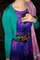 vintage belt - Sigerson Morrison boots - Pashmina scarf - Mango dress - H & M