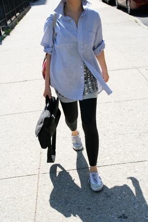 Van Heusen shirt - Patrizia Pepe top - american apparal leggings - Rhinha