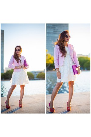 ivory Forever 21 dress - bubble gum pink ann taylor blazer