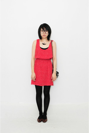 red polka dots woohooNYC dress - brown vintage woohooNYC shoes