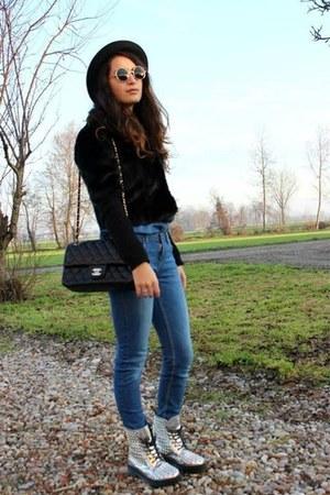 black H&M hat - silver Dr Martens boots - blue Zara jeans