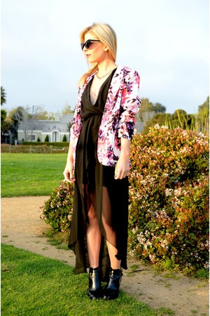 floral Aqua blazer - open sides Candela boots - maxi TFNC LONDON dress