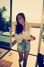 Teal-shoes-shorts-tan-sunglasses-off-white-blouse