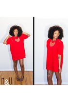Mod Red Mini Dress Shirt x 70s Vintage
