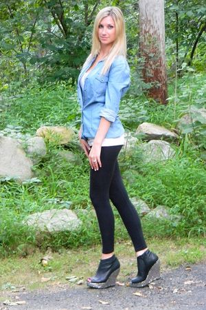 black leggings - black Jeffrey Campbell shoes - blue Zara shirt