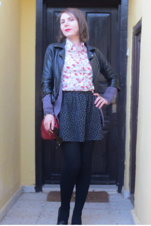 black Nine West shoes - black Bershka jacket - Koton shirt - red Zara bag