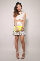 white crop top Zara top - yellow neon Yves Saint Laurent bag