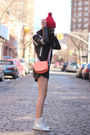 Leather-zara-shorts-red-american-apparel-hat-veda-jacket