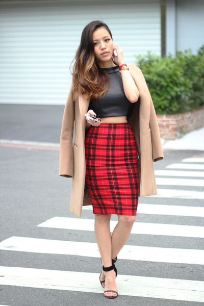 red plaid check free people skirt - light brown Shopbop coat