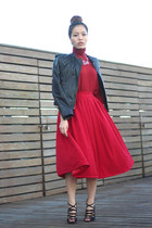red midi red winter asos skirt - red turtleneck red Zara sweater