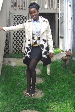 beige unknown brand coat - blue Goodwill shirt - beige Jessica Simpson shoes - g