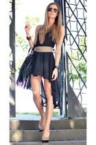 black H&M bag - black H&M top - tan H&M belt - black H&M skirt