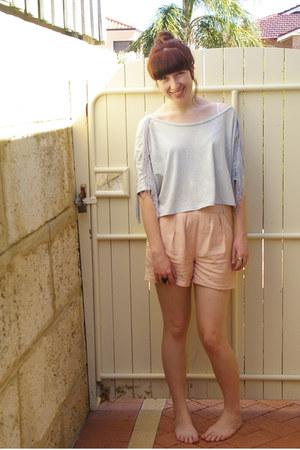 light blue kenji top - peach Sportsgirl shorts