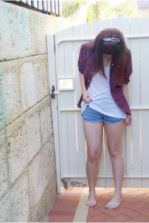 white supre top - brick red vintage shirt - sky blue Sportsgirl shorts