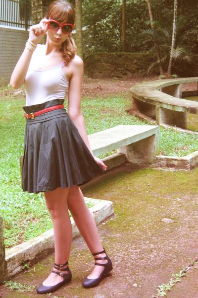 pink Zara top - black skirt - black Melissa & Vivienne Westwood shoes - red belt