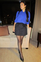 black H&M skirt - blue Thrift Store blouse - Target stockings