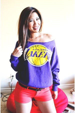 purple Vintage Lakers Sweater sweater - coral fashion young shorts