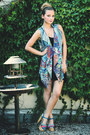 Black-h-m-dress-blue-colorful-unbranded-vest