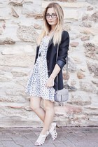 black oversized blazer - white polkadot dress - silver small bag
