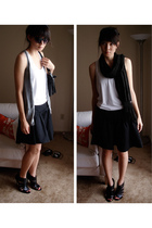 shoes - skirt - shirt - scarf - vest