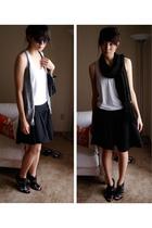 shoes - skirt - shirt - scarf - vest