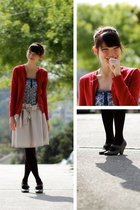 red sweater - blue shirt - brown tights - gray shoes