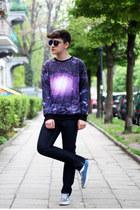 deep purple Sheinside sweatshirt - turquoise blue Vans sneakers