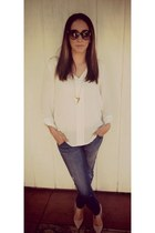 Forever 21 necklace - Steve Madden shoes - hudson jeans jeans - dior sunglasses