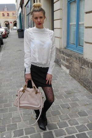 white Zara blouse - light pink Chloe bag - black Stradivarius skirt