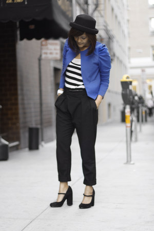 H&amp;M blazer - bowler hat Topshop hat - Zara pants - Topshop heels