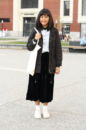 parka H&M jacket - contrast panel chictopia shop shirt