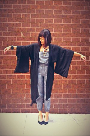 black kimono Wasteland cardigan - silver American Apparel jumper