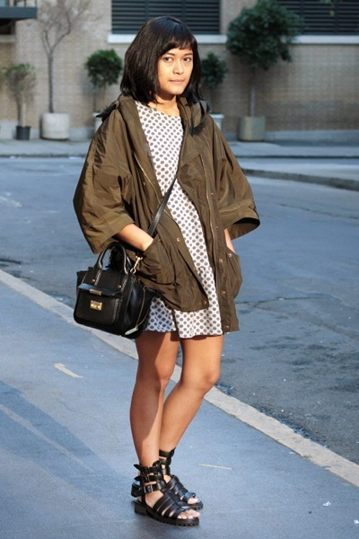 olive green Zara coat - heather gray asos dress - black Phillip Lim x Target bag