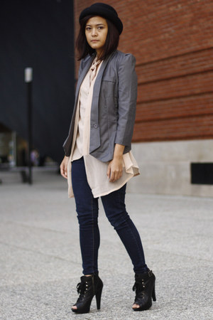 boots - hat - blazer - blouse