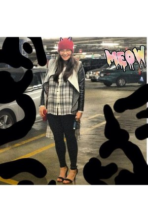 black Topshop jeans - ruby red Topshop hat - gray unknown blazer
