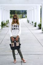 camo Target pants - chic Forever 21 sweater - Marc by Marc Jacobs bag