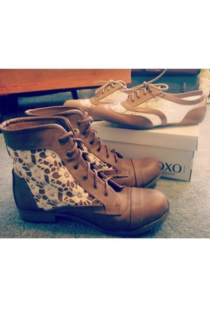 light brown lace Rampage boots - tan lace XOXO flats