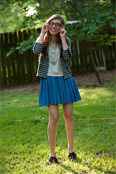 violet pleated Forever 21 dress - heather gray striped jacket